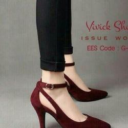รองเท้าคัทชูส้นสูง ผ้าสักหราด ทรงเก็บหน้าเท้า (สีแดงเลือดหมู )