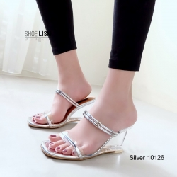 รองเท้าส้นสูงสีเงิน เปิดส้น สไตล์ MAXI (สีเงิน )