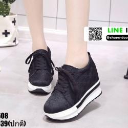 รองเท้าผ้าใบเสริมส้น งานนำเข้า100% ST608-BLK [สีดำ]