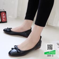รองเท้าคัทชูโบว์ส้นแบน ยางยืดขอบหลัง 389-3-ดำ [สีดำ]