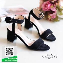 รองเท้าส้นตันสีดำ รัดข้อ งานกำมะหยี่ (สีดำ )