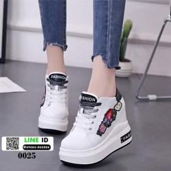 รองเท้าผ้าใบเสริมส้นนำเข้า สไตล์เกาหลี 0025-BLACK [สีดำ]