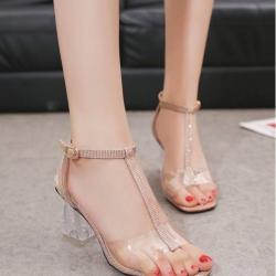 รองเท้าส้นแก้วเปิดส้นส้นรัดข้อ ST1811-GLD [สีทอง]