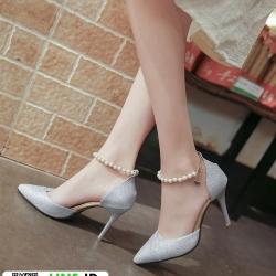 รองเท้าส้นสูงแบบหัวแหลม แต่งกลิตเตอร์ 519-เงิน [สีเงิน]