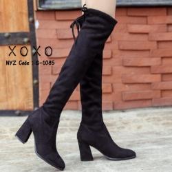 รองเท้าบูทยาวคลุมเข่าสีดำ ส้นสูง เชื่อกผู้ด้านหลัง (สีดำ )
