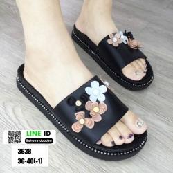 รองเท้าแตะลำลองแบบสวม 3638-BLK [สีดำ]