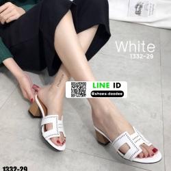 รองเท้าแตะสวมส้นเหลี่ยม 1332-29-WHI [สีขาว]