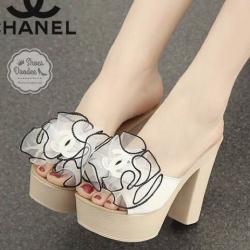 รองเท้าส้นสูงสีขาว วัสดุทำจากหนังพียู หนังแก้วแต่งดอก แบบสวยใส่สบาย สูง4 หน้า1นิ้ว นน.เบา