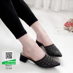 รองเท้าหัวแหลม สไตล์ซาร่าห์ 10184-ดำ [สีดำ]