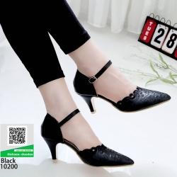 รองเท้าส้นสูง ฉลุลาย รัดข้อ 10200-ดำ [สีดำ]