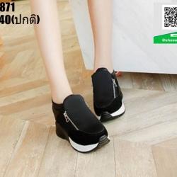 รองเท้าผ้าใบเสริมส้น ST5871-BLK [สีดำ]