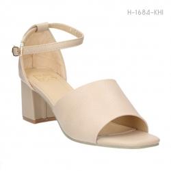 รองเท้าส้นสูงรัดส้น แบบเปิดหน้า ส้นตัน (สีกากี )