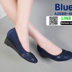 รองเท้าคัชชูส้นเตารีด A2688-46-BLU [สีน้ำเงิน]