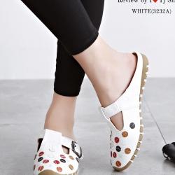 รองเท้าแตะเพื่อสุขภาพ เปิดส้น หนังนิ่ม สไตล์วินเทจ (สีขาว )