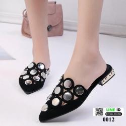 รองเท้านำเข้าที่สาวๆตามหา กับงานทรงเกร๋ 0012-ดำ [สีดำ]