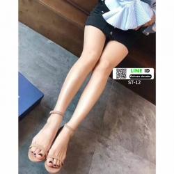 รองเท้าส้นสูงรัดส้น วัสดุผ้าสักหลาด ST-12-CRE [สีครีม]