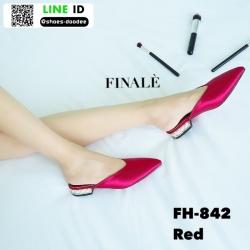 รองเท้าสไตล์สวมปิดหัวงานผ้าซาติน FH-842-RED [สีแดง]