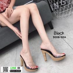 รองเท้าส้นสูงเปิดส้น ส้นไม้ หน้าใส 3006-92A-BLK [สีดำ]