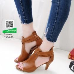 รองเท้าส้นสูง ซิปหลัง 350-209-น้ำตาล [สีน้ำตาล]