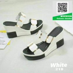 รองเท้าส้นเตารีดเปิดส้นสีขาว หนังแก้วนิ่มแต่งข้อต่อ (สีขาว )