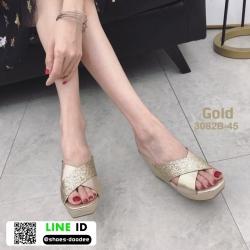 รองเท้าส้นเตารีด หน้าไขว้ กากเพชร 3082B-45-GLD [สีทอง]