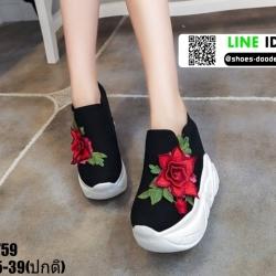 รองเท้าผ้าใบสวมเสริมส้น งานนำเข้า100% ST59-BLK [สีดำ]