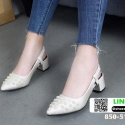 รองเท้าหัวแหลม สไตล์ zara top basic 850-51-CRE [สีครีม]