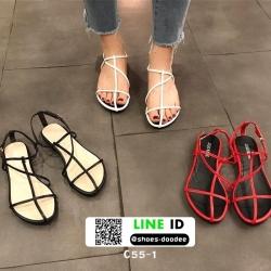 รองเท้าแตะผู้หญิงรัดส้น Celine sandals C55-1-WHI [สีขาว]
