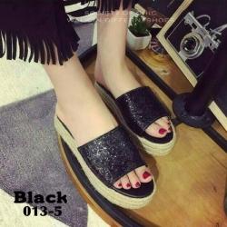 รองเท้าส้นตึกสีดำ ส้นเชือกปอ สไตล์แบรนด์ MIU MIU (สีดำ )