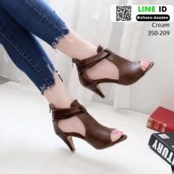 รองเท้าส้นสูง ซิปหลัง 350-209-ครีม [สีครีม]