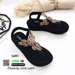 รองเท้าลำลองแบบคีบ วัสดุหนังนิ่ม SP001-ดำ [สีดำ]
