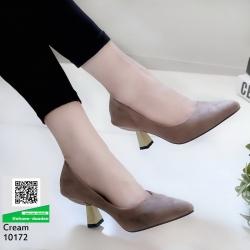 รองเท้าส้นสูงปราด้า 10172-ครีม [สีครีม]
