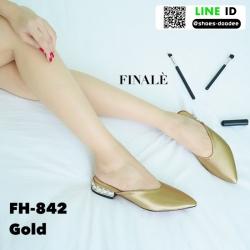 รองเท้าสไตล์สวมปิดหัวงานผ้าซาติน FH-842-GLD [สีทอง]