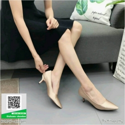 รองเท้าคัทชูส้นสูงสีทอง หัวแหลม ผ้าซาติน (สีทอง )