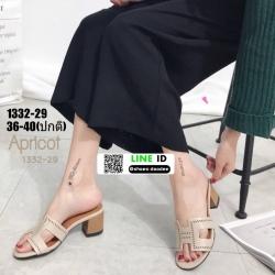 รองเท้าแตะสวมส้นเหลี่ยม 1332-29-CRM [สีครีม]