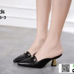 รองเท้าส้นเข็มเปิดส้น หัวแหลม ส้นทอง A82856-3-BLK [สีดำ]