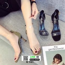 รองเท้าส้นเข็มเปิดข้าง หน้าใส Q-561-GLD [สีทอง]