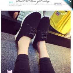 รองเท้าผ้าใบผู้หญิงสีดำ หนังกลับ พื้นร่อง แบบเชือกผูก แนววินเทจ แฟขั่นเกาหลี แฟชั่นพร้อมส่ง