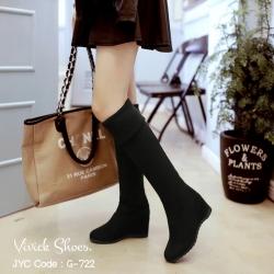 รองเท้าบูทยาวส้นเตารีด ใส่เที่ยวหน้าหนาว (สีดำ )