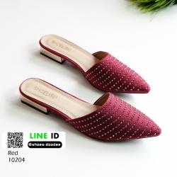 รองเท้าส้นเตี้ย ซาร่าห์หน้าเรียว ส้นทอง 10204-แดง [สีแดง]