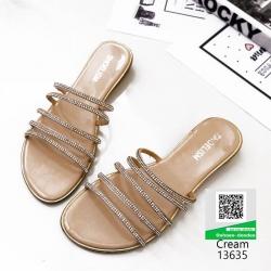 รองเท้าแตะ ลำลองแบบสวมหนังเมทัลลิคคาด 13635-ครีม [สีครีม]
