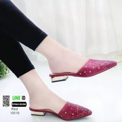 รองเท้าหัวแหลม ส้นทอง สไตล์ซาร่าห์ 10210-แดง [สีแดง]