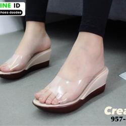 รองเท้าลำลองแบบสวมส้นเตารีด 957-83-CRE [สีครีม]