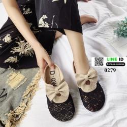 รองเท้าทรงสลิปเปอร์น่า ดีไซน์สไตล์เกาหลี 0279-ดำ [สีดำ]