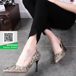 รองเท้าคัทชูส้นเข็มสีทอง หัวแหลม Style Chanel (สีทอง )