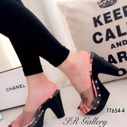 รองเท้าส้นสูง แบบสวม สายคาดแบบใส ลายกุชชี่ (สีดำ )