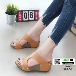 รองเท้าส้นเตารีด หนัง pu 961-57-น้ำตาล [สีน้ำตาล ]