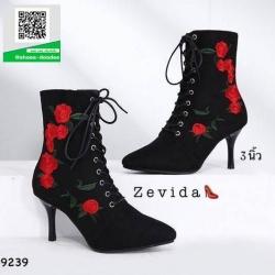 รองเท้าบูทส้นเข็มสีดำ แบบผูกเชือก สไตล์เกาหลี (สีดำ )