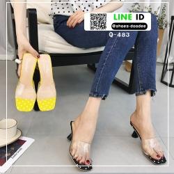 รองเท้าส้นสูงเปิดส้น หน้าใสลายจุด Q-483-BLK [สีดำ]