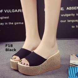 รองเท้าส้นเตารีดสีดำ เปิดส้น สไตล์เกาหลี (สีดำ )